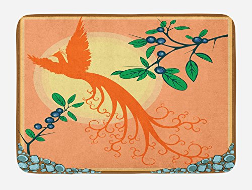 (Lunarable Birds Bath Mat, Silhouette of Mystic Phoenix Bird Flying Over Sun Grape Leaves Magic Fearthers Art, Plush Bathroom Decor Mat with Non Slip Backing, 29.5 W X 17.5 L Inches, Multicolor )