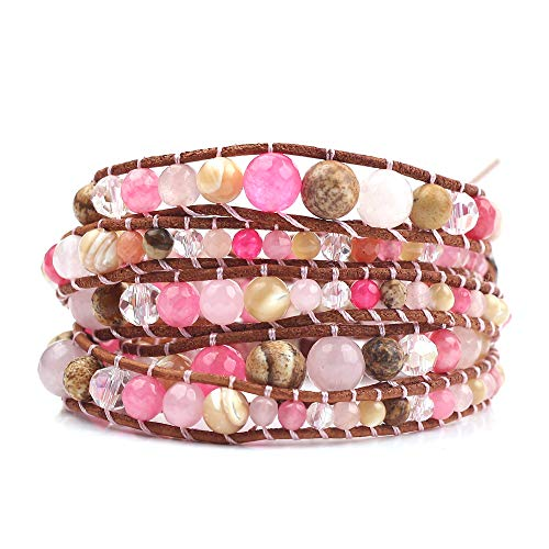 - rongji jewelry Handmade Bohemian Natural Stones Bracelet - Leather Bracelet with Chakra and Beads Wrapped for Women and Girls (Pink)
