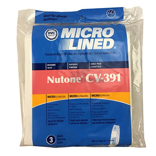 Nutone 391 Replacement Bags for Central Vac, Set of 3 Six Gallon Bags