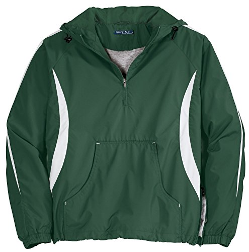 Sport-Tek - Colorblock Hooded Raglan Anorak. JST63 - 3XL - Forest Green / White Sport Tek Colorblock Anorak