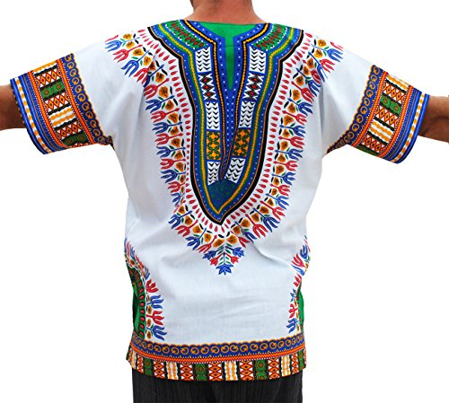RaanPahMuang Brand Unisex Bright African White Dashiki Cotton Shirt #89 Aqua blue Medium by RaanPahMuang (Image #2)