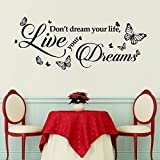 Walplus Wall Stickers Dream Quote Removable Self-Adhesive Mural Art Decals Vinyl Home Decoration DIY Living Bedroom Office Décor Wallpaper Kids Room Gift, Black