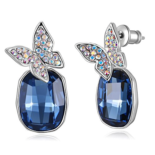SUE'S SECRET Swarovski Element Earrings Butterfly Gemstone Drop Earrings with Swarovski Crystals, Rose Red & Blue, Birthstone Gifts for Women, Valentines Fashion Gifts