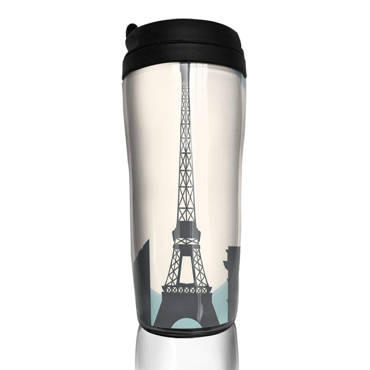 Bei Tang Coffee Cup I Love Paris Vector Travel Tumbler Insulated Leak Proof Drink Containers Holder Vintage 12 Ounces
