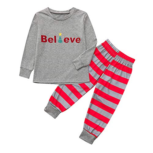 FEDULK Matching Family Christmas Boys Girls Pajamas Striped Sleepwear Nightwear Holiday Pjs Sets(Gray2, Kid-10T)