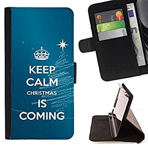 Momo Phone Case / Flip Funda de Cuero Case Cover - Mantener la calma Coming Azul Azul Navidad - Sony Xperia Z2 D6502