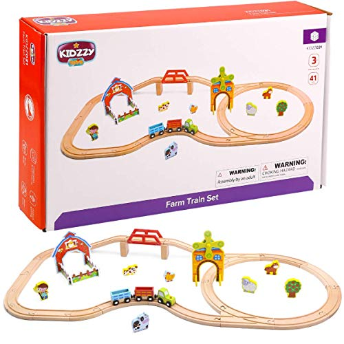 Wooden Train Tracks Set Toys for Boys and Girls 3 Years Old & Up 41 PCS Train Set Toy for Kids - 3 Magnetic Trains, 21 Wood Tracks, 1 Bridge, With Animals - Best Gift For Toddlers