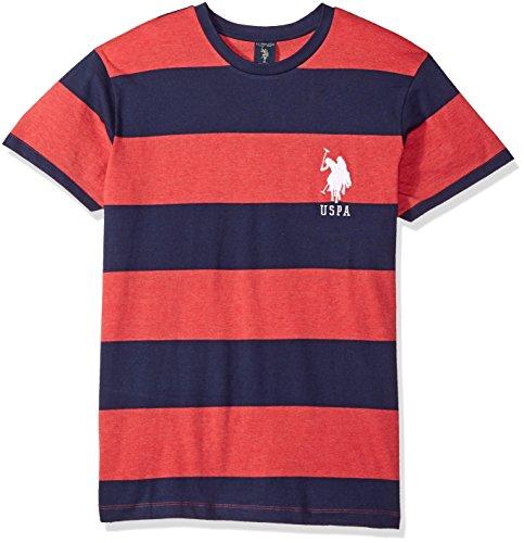 (U.S. Polo Assn. Men's Short Sleeve Crew Neck Striped T-Shirt, Nantucket Red Heather FKLC, L)