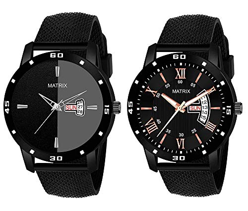 """Matrix""""Pair of The Year"""" Day & Date Black Watches for Men & Boys (Set of 2)"""
