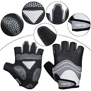VMFTS Biking Gloves Gel Pading Fingerless Sporting Glove for Weightlifting Racing Cycling Climbing Parkour Running (Black, M)
