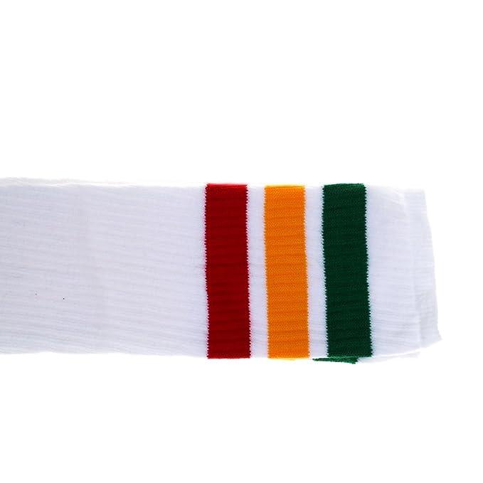 Choobes Unisex 30 pulgadas sobre los calcetines blancos del tubo de la rodilla con el verde/el oro/las rayas rojas: Amazon.es: Ropa y accesorios