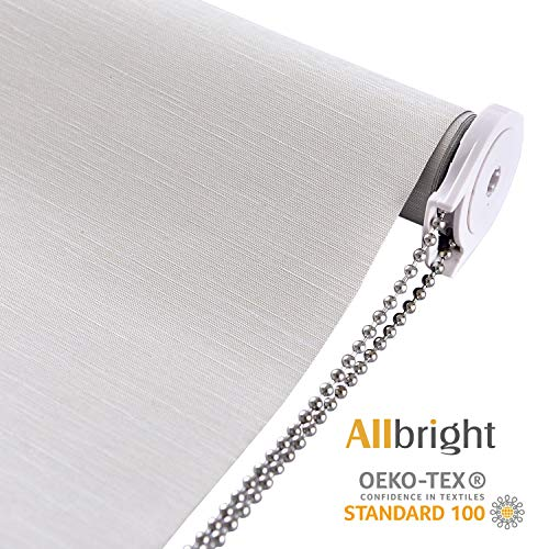 "ALLBRIGHT Thermal Insulated Fabric 100% Blackout UV Protection Striped Jacquard Roller Shades for Windows,Easy to Install (Beige, 35"")"