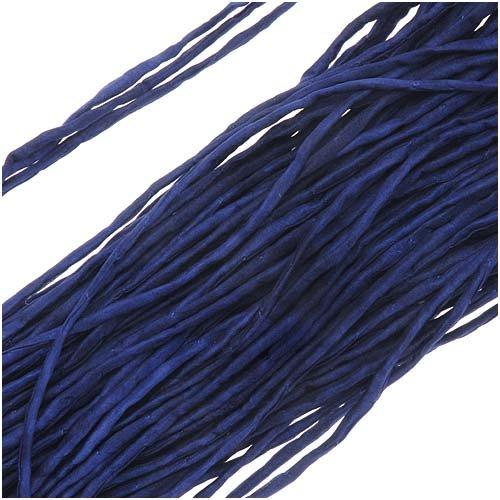 Silk Fabric String, 2mm Diameter, 42 Inches Long, 1 Strand, Royal Blue
