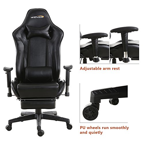 WENSIX Gaming Chair High Back Computer Chair With Adjusting Footrest, Ergonomic designs Extremely Durable PU Leather Steel Frame Racing Chair (Black) by WENSIX (Image #4)