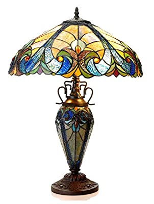 Chloe Lighting CH18780VA18-DT3 Tiffany Liaison, Tiffany-style Victorian 3 Light Double Lit Table Lamp 18-Inch Shade, Multi-colored