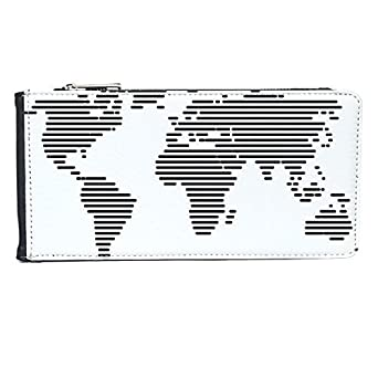 Simple Black White Line World Map Illustration Pattern Multi Card Faux Leather Rectangle Wallet