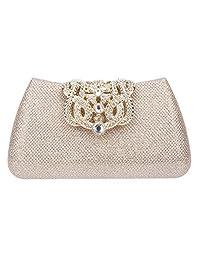 Fawziya Crystal Crown Clasp Powder Clutch Handbag Evening Bag