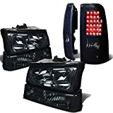 Replacement for Chevy Silverado 1st Gen 4pc Pair of Smoked Lens Clear Corner Headlight+Black Smoked Lens LED Tail Light