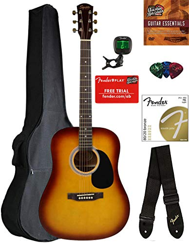 Fender Squier Dreadnought Acoustic Guitar – Sunburst Bundle with Gig Bag, Tuner, Strap, Strings, Picks, and Austin Bazaar Instructional DVD