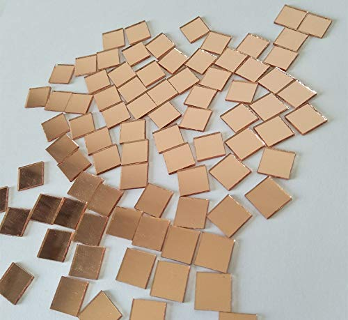 200PCS Square Mirror Mosaic,Glass Mirror Mosaic Tiles,Crafts Glass Mirror Tiles, Real Square Glass Mirror Table Scatter (Light Rose Gold, 1/25 in) (Table Mosaic Mirror)