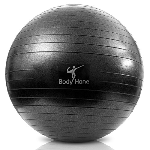 Best Core Strengthening High-Grade Exercise Ball - Extra Thick Anti-Burst -Tested at 1,100lbs - Non-Toxic PVC Material - Includes Foot Pump (Black, 65cm)