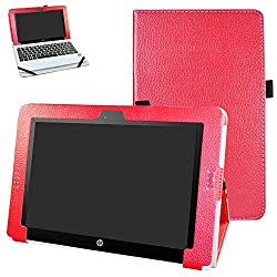 "Hp Pavilion X2 10 Hp X2 210 G1 Case,mama Mouth Pu Leather Folio Stand Cover For 10.1"" Hp Pavilion X2 10-n113dx N114dx N123dx N124dx N013dx Hp X2 210 G1 Detachable 2-in-1 Laptoptablet,red"