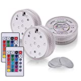 BEICHI LED Submersible Lights Remote Controlled, Multicolor Waterproof Underwater Lights, Battery Operated Submersible Light for Event Party & Home Decoration, Color Changing Submersible Lights, 3Pack