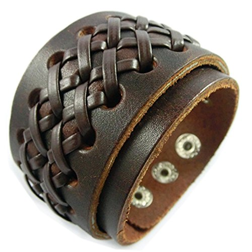 UNIONTOP Antique Men's Leather Cuff Bracelet, Leather Wrist Band Wristband Handcrafted Jewelry Brown