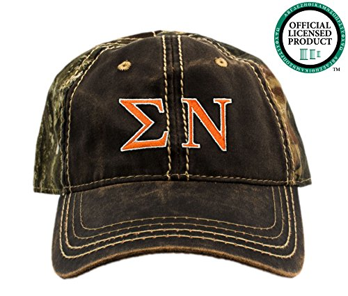 Sigma Nu Embroidered Camo Baseball Hat, Various Thread Colors