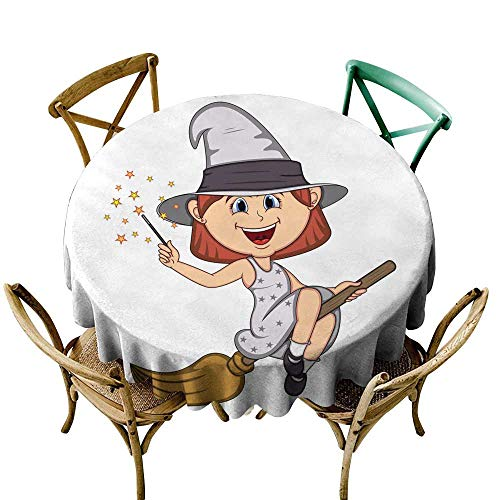 SKDSArts Fabric Tablecloths for KitchenFunny Witch Girl with Halloween Outfit and Flying Broom Cartoon D60,Round Tablecloth -