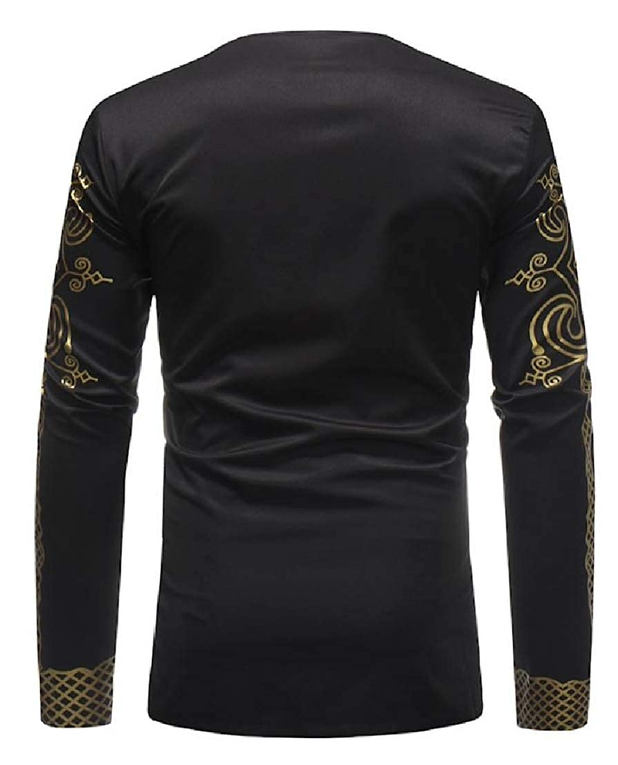 Wofupowga Men Long Sleeve V-Neck Ethnic Style Casual African Printing T Shirts