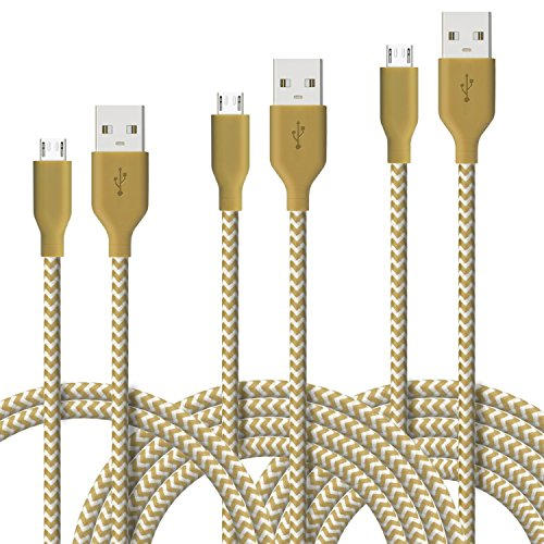 [3 Pack] Fasgear Micro USB(3ft,6ft,10ft) - Premium Charging Cables [Braided Nylon] for Samsung, Nexus, LG, Android Smartphone and More (Golden)