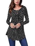 BaiShengGT Long Sleeve T Shirts Tunic Tops, Women's Crewneck Long Sleeve Floral Shirts Flared Casual Tunic Tops X-Large Black Polka Dot