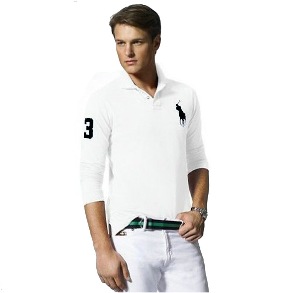 Ralph Lauren Polo de Manga Larga Big Pony Custom Fit (XL, Blanco ...