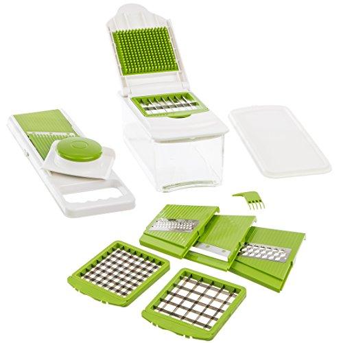 Levivo 7-in-1 Multifunktionsschneider für Obst und Gemüse, weiß / grün