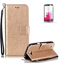 LG G4 Case Cover [with Free Screen Protector], Funyye Elegant Premium Folio PU Leather Wallet Magnetic Flip Cover with [Wrist Strap] and [Credit Card Holder Slots] Stand Function Book Type Stylish Butterfly Leaf Vines Designs Full Protection Holster Case Cover Skin Shell for LG G4 - Gold