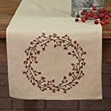 Piper Classics Twig & Berry Vine Table Runner, 13'' x 36'', Beige w/Embroidered Berries, Farmhouse Country Primitive Style