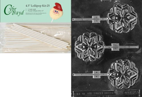Cybrtrayd 00045St25-C023 Snowflake Lolly Christmas Chocolate/Candy Mold with 25 4.5-Inch Lollipop Sticks