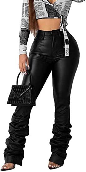 Women's High Rise Stretchy Bodycon Club Faux Leather Ruched Pants