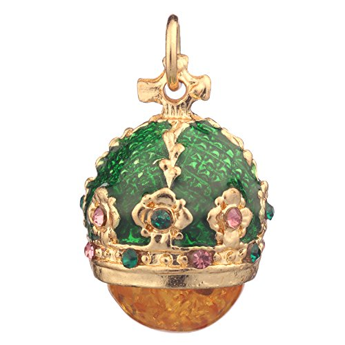 danila-souvenirs Russian Faberge Style Egg Pendant/Charm Crown with Crystals 0.9'' Green #0801-08