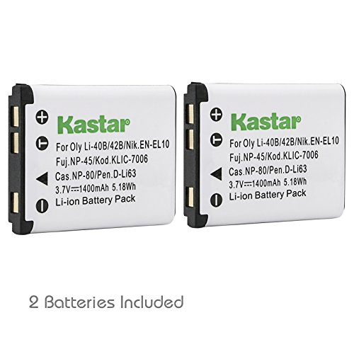 Kodak Digital Cameras Accessories - Kastar K7006 Battery (2-Pack) for Kodak KLIC-7006 Nikon EN-EL10 Rechargeable Lithium-ion Battery and Kodak Nikon Digital Camera (Detail Models in the Description)