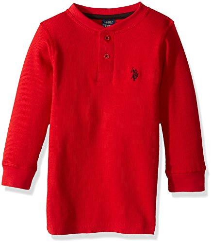 U.S. Polo Assn. Toddler Boys' Long Sleeve Fancy Henley Thermal Sweatshirt, Engine Red RG12, (Polo Red Sweatshirt)
