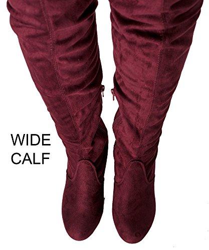 RF RAUM DER MODE Frauen Block-Block-Block-Block-Ferse-Stretch-Stiefel - erhältlich in mittlerer und breiter Wade Burgunder Su - Breites Kalb