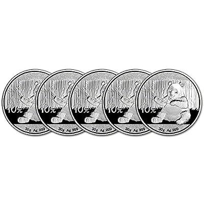 CN 2017 China Silver Panda Five 5 (30 g) Coins Brilliant Uncirculated