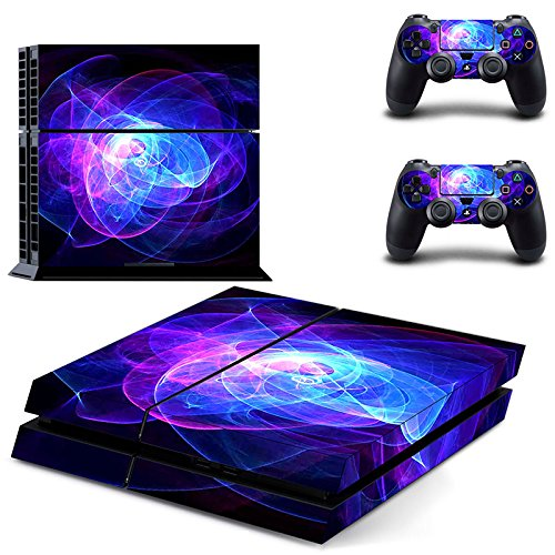 UUShop Skin Decal for Playstation 4 Console System and PS4 Wireless Dualshock Controller - Blue Purple Lines (Ps4 The Best Price)