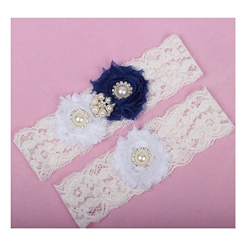 Miranda's Bridal Women's Lace Floral Bridal Garters Wedding Garters with Rhinestone and Pearl Navy Blue 3 M