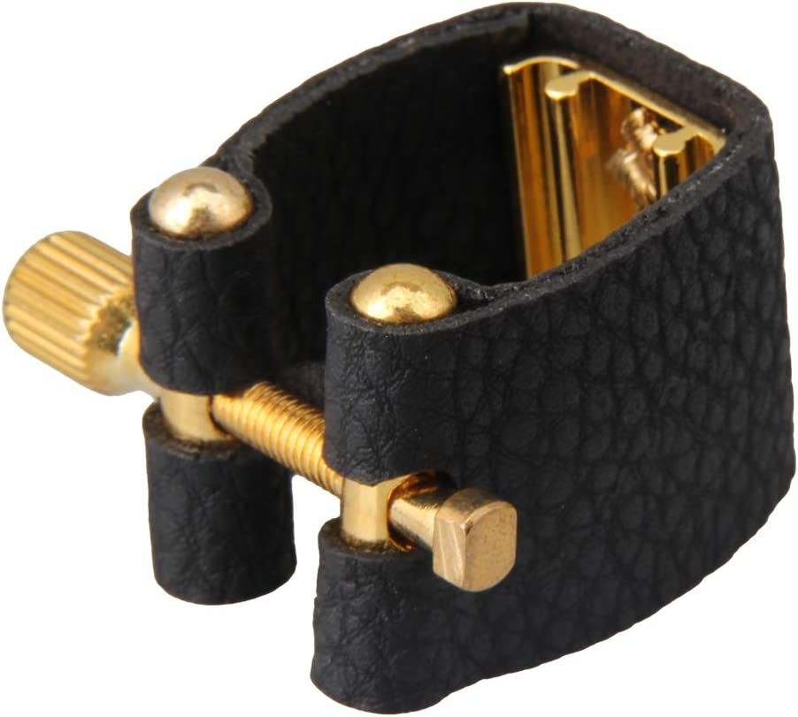 LovermusicSoprano Saxophone Mouthpiece Ligature Bakelite with Iron Clip Sax Parts Black