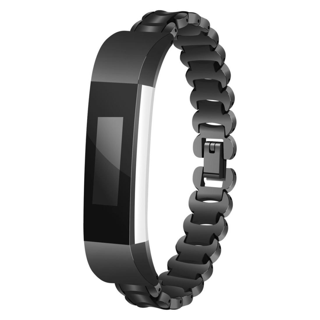 For Fitbit ALTA HR / Fitbit ALTA、Binmer ( TM )純正ステンレススチールWatchブレスレットBand Strap 167mm ブラック Binmer(TM) ブラック ブラック B07847RCXH