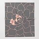 Society6 Rosegold blossom on grey - Pink metal-effect flower Throw Blankets 88'' x 104'' Blanket
