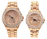 Techno Pave's Rose-Gold Iced Out Matching His & Her Metal Band Bling Gift Set